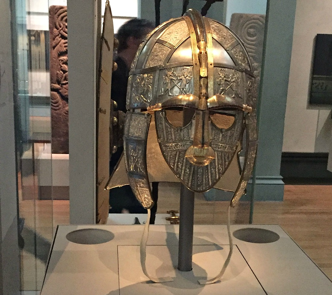 replica Sutton Hoo helmet at the museum