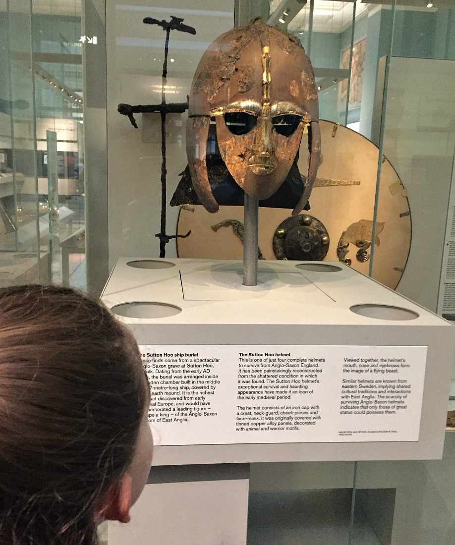 The Sutton Hoo helmet displayed at the British Museum.  Anglo-Saxon history