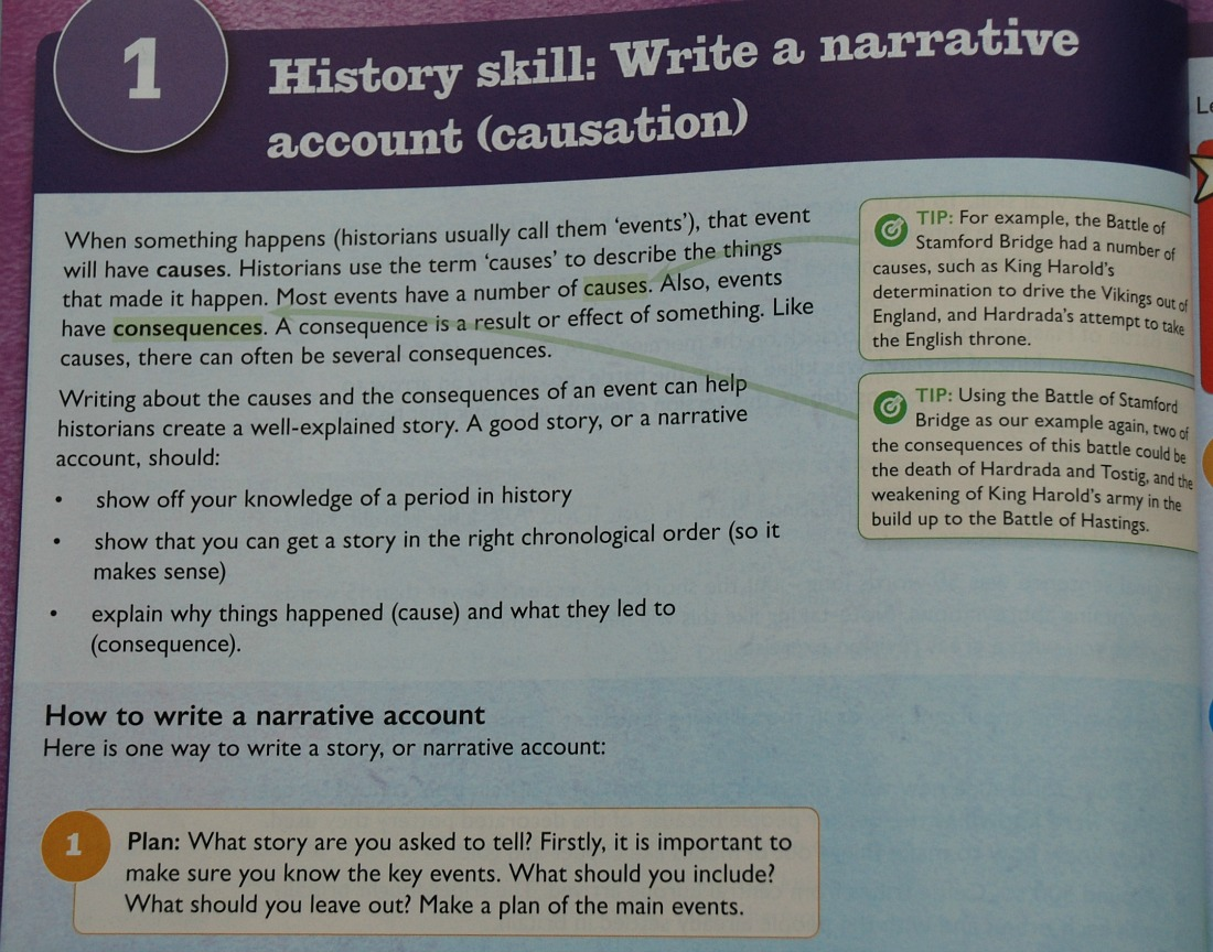 History Skill Write a Narrative Account. Included in the Aaron Wilkes History Secondary books