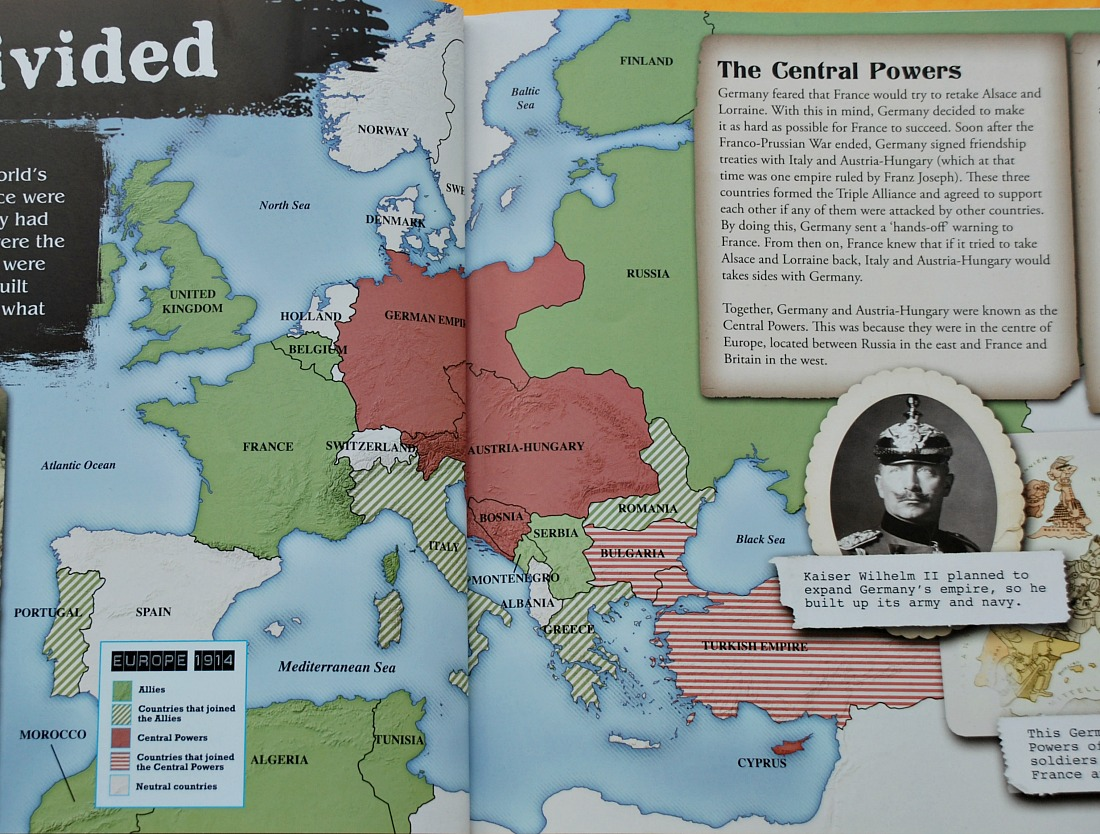 The Story of the First world war for children. Map of Europe