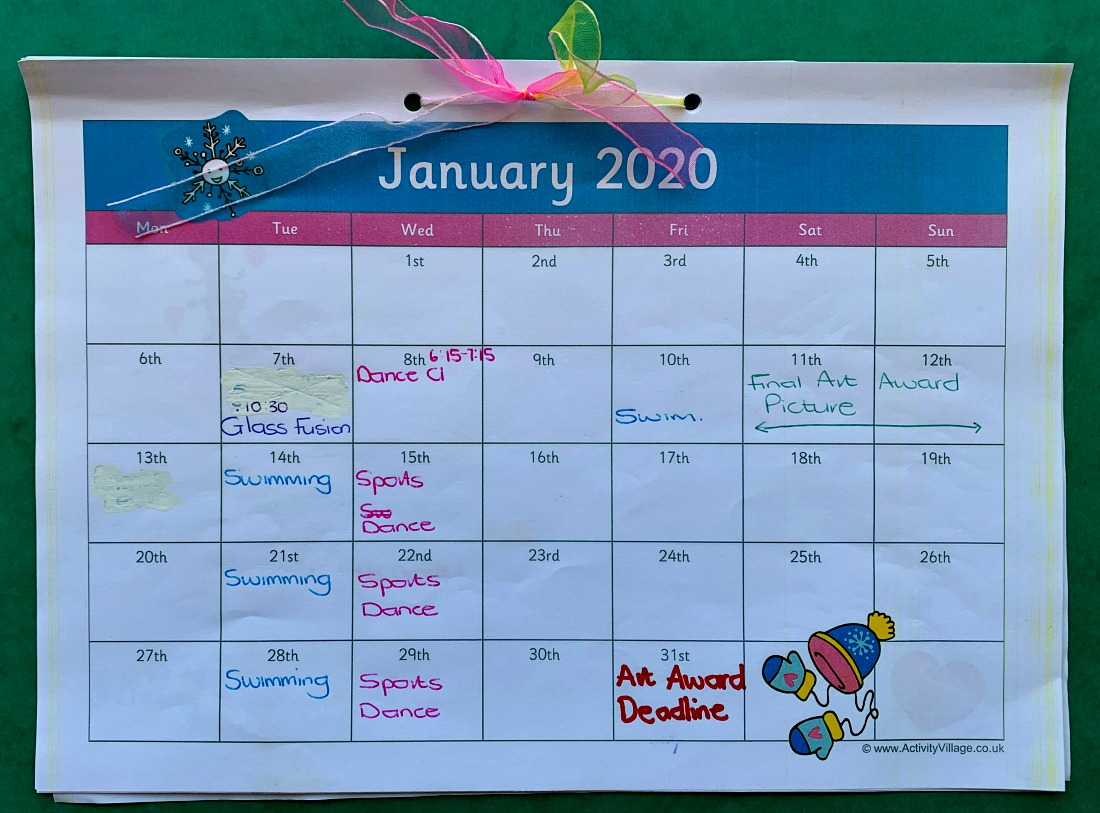2020 Calendar pages from Activity Village