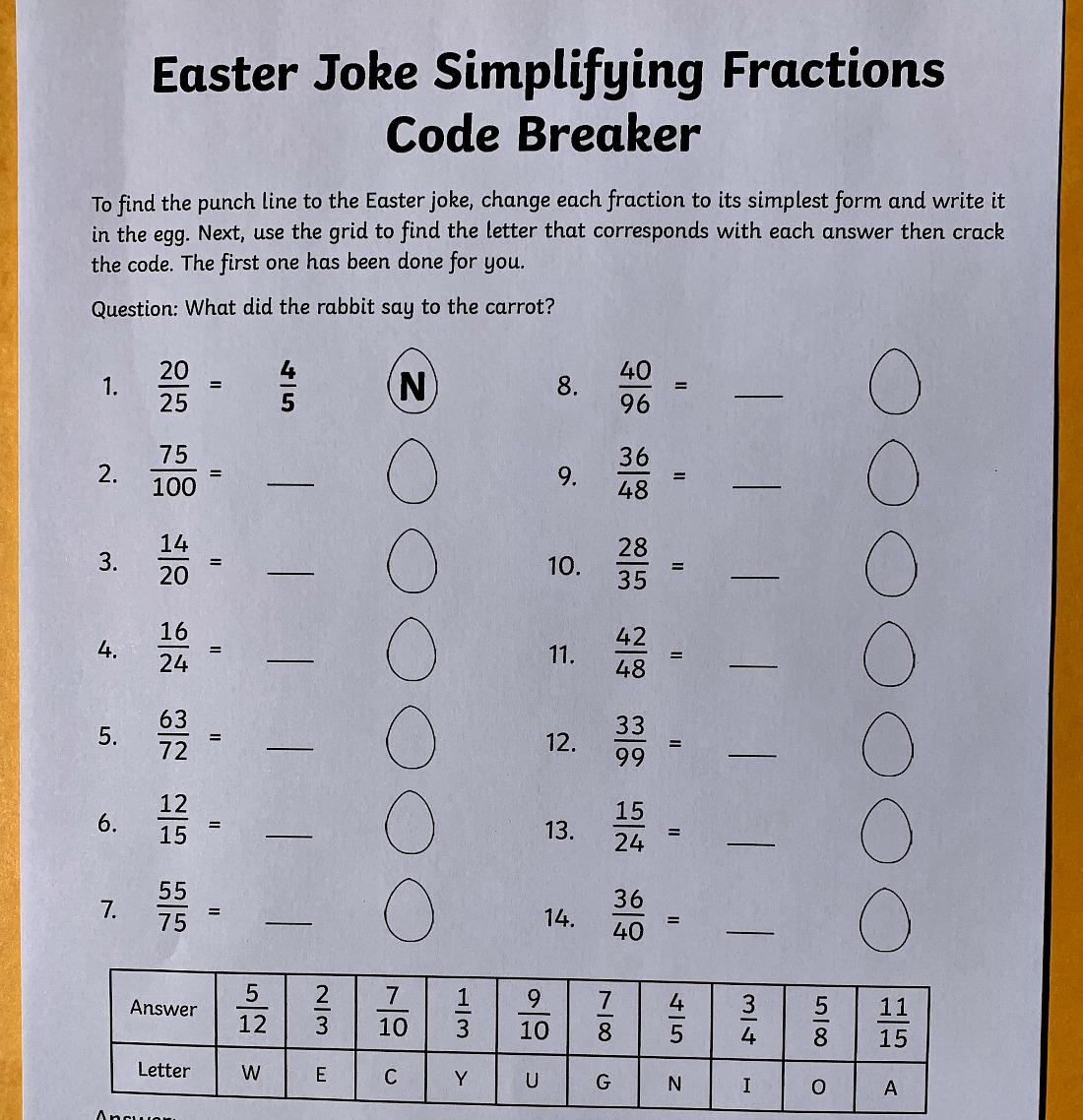 Code Breaker by simplifying fractions