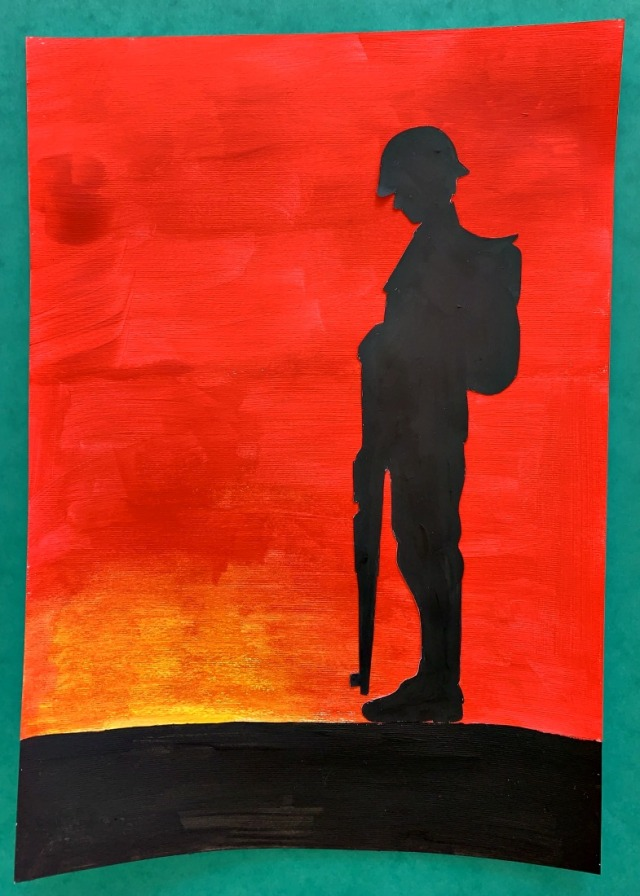 Final soldier silhouette painting using Activity Village template