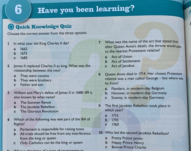 Knowledge Quiz part of Revolution, Industry and Empire KS3 History book
