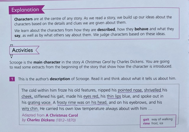character clues included in the Schofield & Sims Understanding English Fiction book