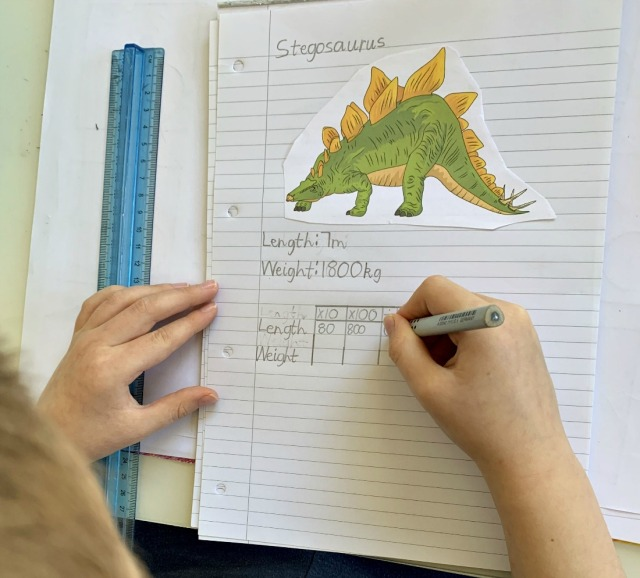 creating dinosaur fact pages to use for his dinosaur maths activity