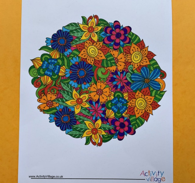Activity Village circle colouring pages flowers