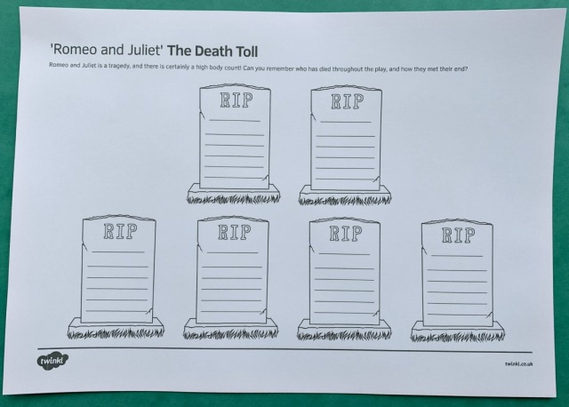 Romeo and Juliet the Death Toll page from Twinkl Resources