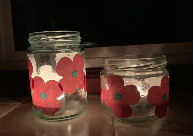 Remembrance Day Lanterns made by kids at home