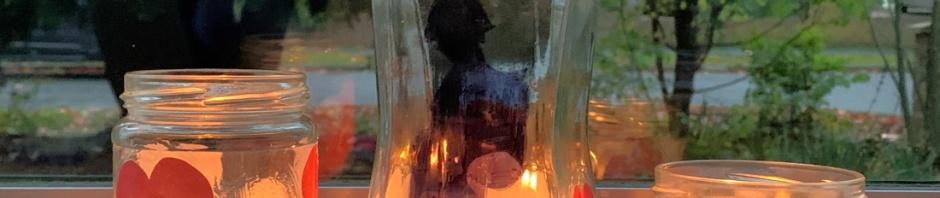 remembrance day lanterns lit up