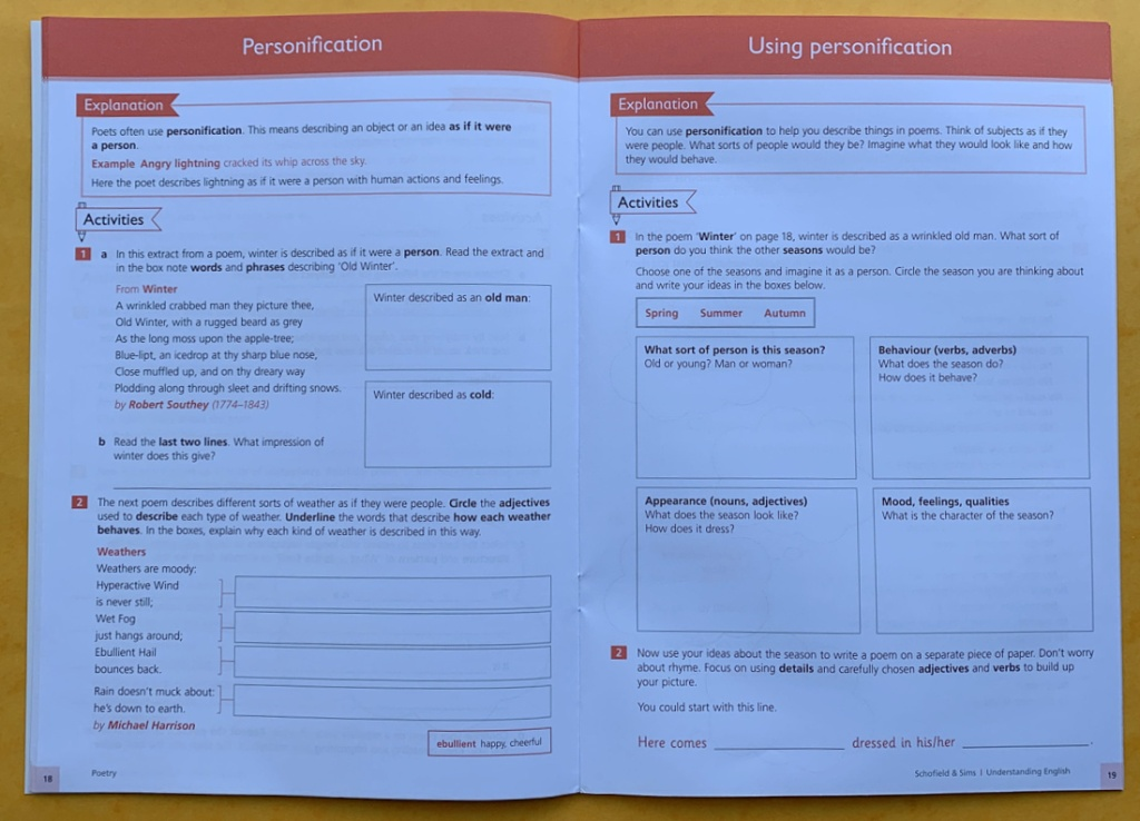 Schofield & Sims Understanding English Poetry workbook for KS2